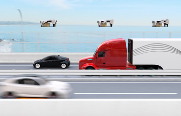 Fleet of American Trucks, cargo drones. Logistics and transportation concept. 3D rendering image.