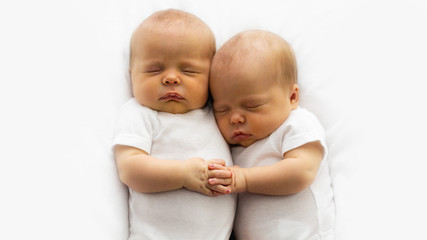 Identical Twin Infant Babies With Copy Space