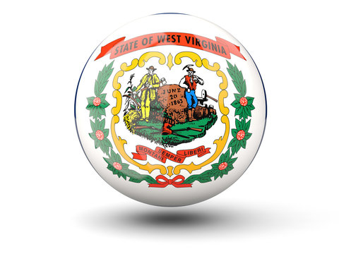 3D ball icon with flag of west virginia. United states local flags