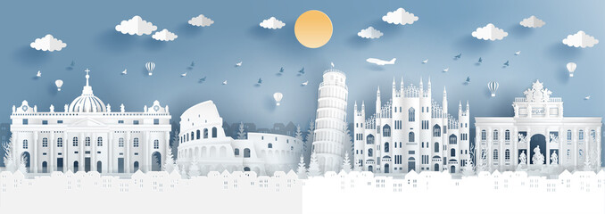 Fototapete - Panorama of top world famous landmark of Italy for travel poster and postcard, in paper cut style vector illustration.