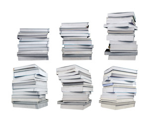 Set of stack of books isolated on white background with clipping path
