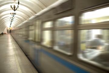 Blurred Train Moving at Subway Station