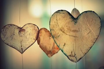 heart shape wooden part slide hanging creative art decoration shop background romantic valentines day couple