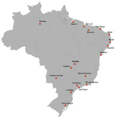 detailed map of the Brazil