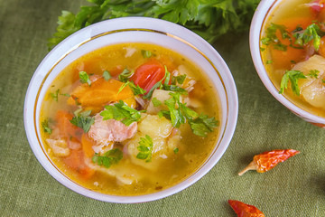 Shurpa is a traditional soup of Central Asian cuisine.