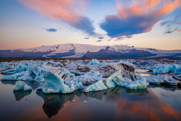 Printed kitchen splashbacks Glaciers Icebergs in Jokulsarlon glacier lagoon. Vatnajokull National Park, Iceland Summer.Midnight Sun.
