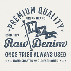 Premium Quality Raw Denim - Vintage Tee Design For Printing