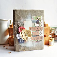 Scrapbooking rustic style photo album with linen cover
