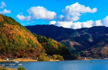 Autumn color at Kawaguchiko lake in Yamanashi prefecture, Japan.