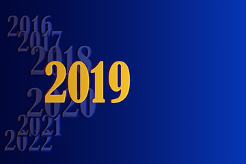 Template for creating greetings with the New Year 2019 on a gradient blue background and place for an inscription