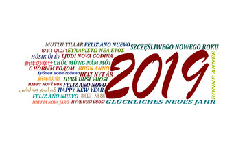 Happy new year 2019 in different languages of the world, white background