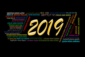 Happy new year 2019 in different languages of the world, black background