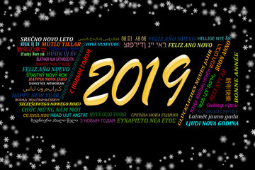 Happy new year 2019 in different languages of the world, black background with snowflakes