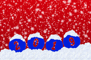 Blank for happy New Year greetings with the number 2019 on snow and red gradient background with snowflakes
