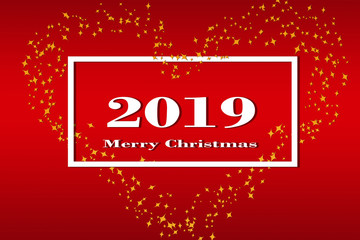 On a red gradient background, a white frame with the number 2019 and the inscription Happy Christmas