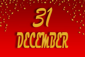 On a red gradient background, gold was written on December 31