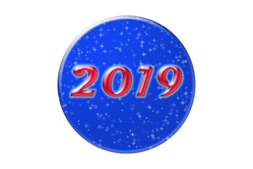 Blue New Year's circle with number 2019, illustration