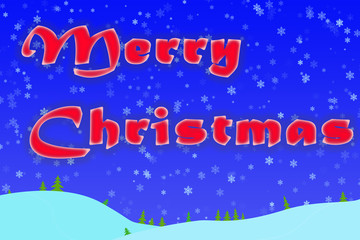 Winter Christmas greeting on a blue background with snowflakes