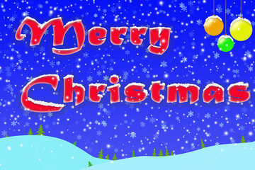 Winter Christmas greeting on blue background with Christmas balls and snow