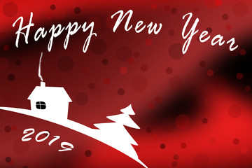 Template for happy new year 2019, red toned background