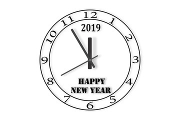 The dial of the watch with the number 2019 and the words happy NEW YEAR on white background.