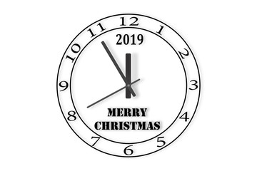 The dial of the watch with the number 2019 and the words merry CHRISTMAS on a white background