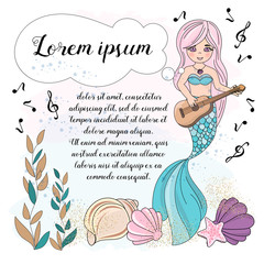 School Autumn Sea Underwater Vector Illustration Set MUSIC MERMAID for Digital Print, Holidays, Wall Art, Scrapbooking, Photo Album Design and Digital Paper