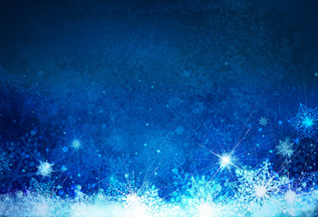 Winter,  blue, snowflakes background. Christmas background.