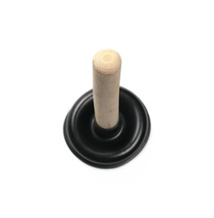 Black rubber plunger isolated on white background