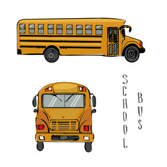 School yellow bus illustration. Sketch vector of two sides view of the bus.American education.Isolated on white background.