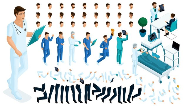 Isometric Constructor of the surgeon with a set of gestures and emotions. Create your character. A large set of accessories for the hospital worker