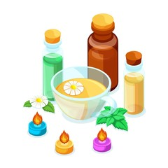 Isometric concept, 3D illustration of products against influenza, natural products for immunity and calming tea chamomile and mint