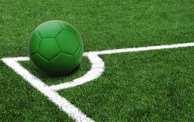 soccer ball on a green field, flag of Libya