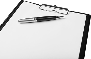 Clipboard with Blank Paper and Pen - Isolated
