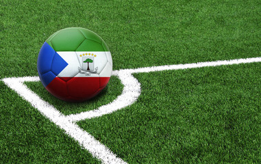soccer ball on a green field, flag of Equatorial Guinea