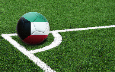 soccer ball on a green field, flag of Kuwait