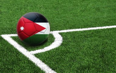 soccer ball on a green field, flag of Jordan
