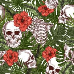 Halloween tropical vintage seamless pattern. Creppy jungle skull background. Human skeleton