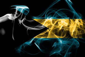 National flag of Bahamas made from colored smoke isolated on black background