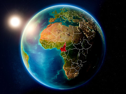 Cameroon with sunset from space