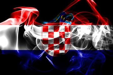 National flag of Croatia made from colored smoke isolated on black background