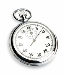 Close Up Of  a Stopwatch on White Blackground
