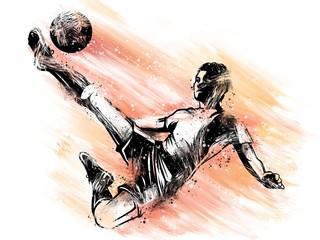 Giocatore di calcio che tira la palla