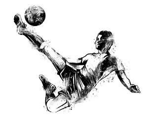 Calciatore che tira il pallone