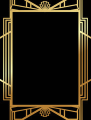 Art Deco Gatsby inspired, Roaring 20s style frame template vector