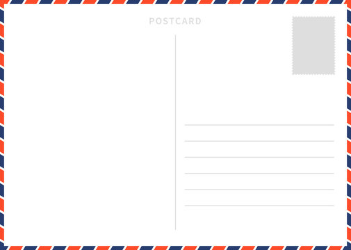 Classic blank white postcard template with airmail border pattern