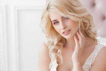 Close up portrait of young beautiful woman indoors
