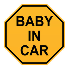 baby in car sign on white background. flat style. baby in car sticker sign.