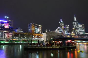 Melbourne night view over Yarra river