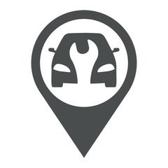Icono plano localizacion coche con llave en espacio negativo gris